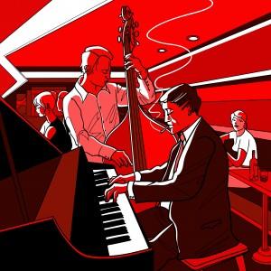 Un contrebassiste aux côtés d'un pianiste dans un piano-bar